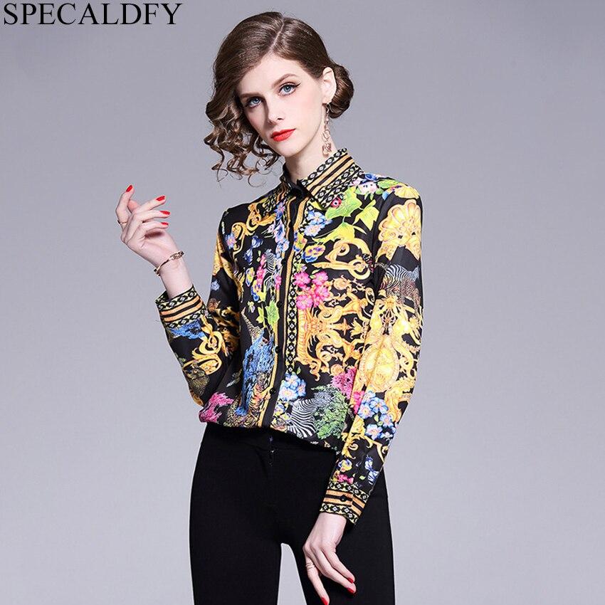 2019 primavera camisa de manga longa feminina designer pista topos impressão blusas do vintage senhoras escritório camisas casuais blusas mujer de moda