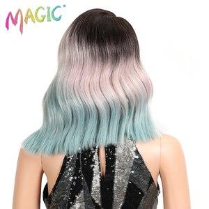 Image 4 - Волшебные короткие волнистые термостойкие парики, синтетические кружевные передние парики, 15 дюймов, средняя часть, безклеевые парики для черных женщин, плотность 150