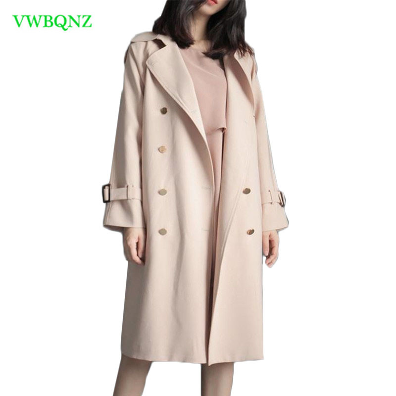 Trench   Coat For Women Double Breasted Slim Fit Long Spring Casual Windbreaker Coat Feminino Abrigos Mujer Autumn Outerwear A691