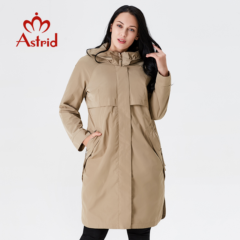 2019 Trench Coat Spring And Autumn Women Causal coat Long Sleeve With Hood Solid color female moda muje High Quality new AS-9046(China)