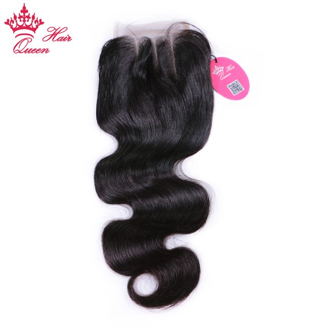 Queen Hair Products 4x4 Lace Closure Brazilian Body Wave Virgin Hair Natural Color 1B 100% Human Hair Three Part Free Shipping
