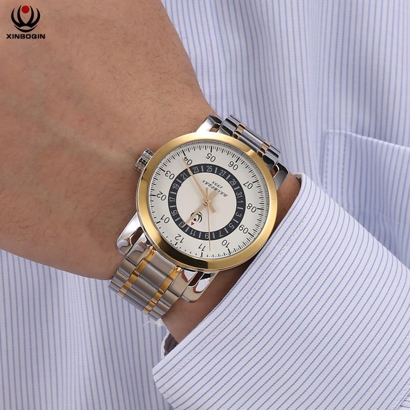 XINBOQIN Men Business Watches Simple Multi-functional Wrist Watch Water Resistant Luxury Top Brand Quartz Wristwatches 3041 fashionable water resistant glow in dark wrist watch black white 1 x lr626