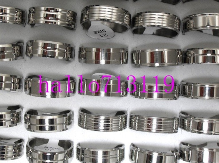 18pcs Mix Silver Stainless Steel Fashion Mens Rings Wholesale Lots FREE