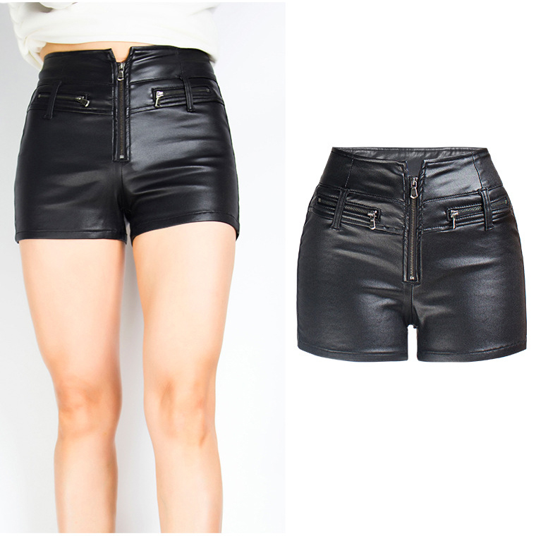 2019 Sexy Women PU   Shorts   Fashion Zip Summer   Shorts   Women High Waist Vintage Black White   Shorts   3XL Pantalones Feminino