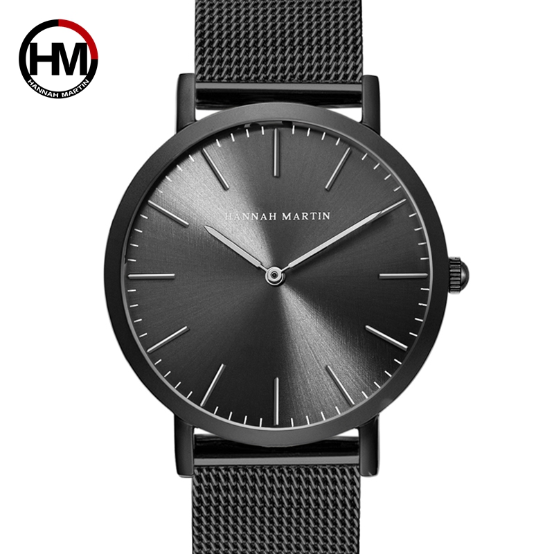 HANNAH MARTIN Watches Luxury Brand Men Simple Quartz Watch Stainless Steel Mesh Band Wrist Watch Unisex Sport Clock Montre Femme