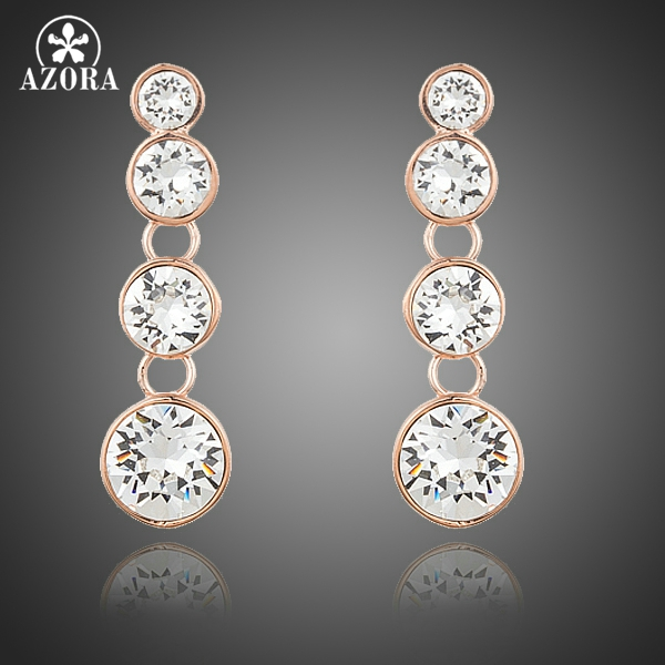 AZORA Rose Gold Color String Round Austrian Rhinestones Simple Fashion  Earrings TE0213 53cda8d4e1d9