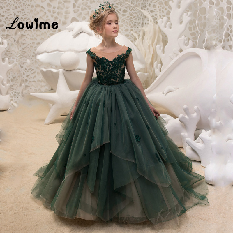 Dark Green Appliqued   Flower     Girl     Dresses   Ball Gown Pageant   Dresses   For   Girls   2018 first Communion   Dresses   Vestido Daminha