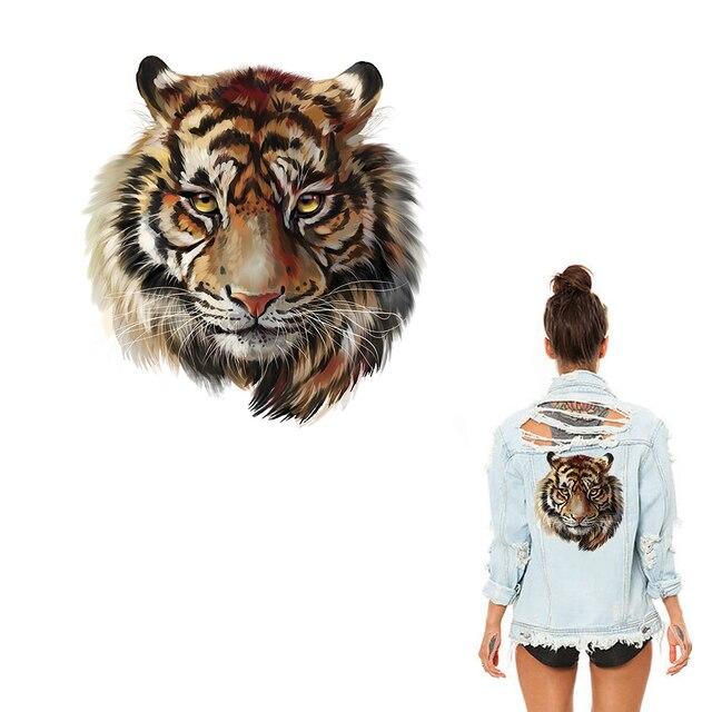 XC гладильная Наклейки теплопередачи DIY аксессуар одежды Нашивки для Для женщин живой тигр животных патч уровня моющиеся аппликации