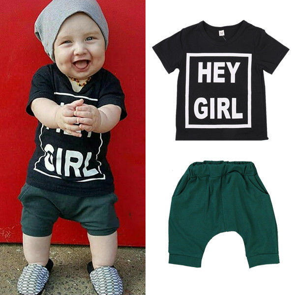 b99e2f3e1 hey girl 2017 New Hot Sale Summer Kids Boys T Shirt Shorts Set ...