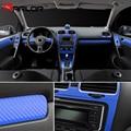 Para volkswagen vw golf 6 gti mk6 interior painel de controle central maçaneta da porta de fibra carbono adesivos decalques estilo do carro acessórios
