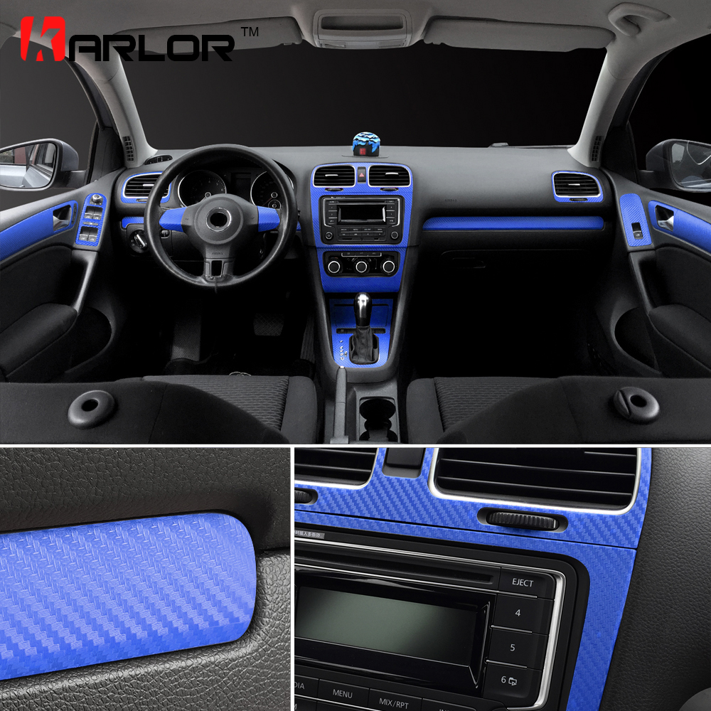 Pour Volkswagen VW Golf 6 GTI MK6 panneau de commande Central intérieur poignée de porte autocollants en Fiber de carbone autocollants accessoires de style de voiture