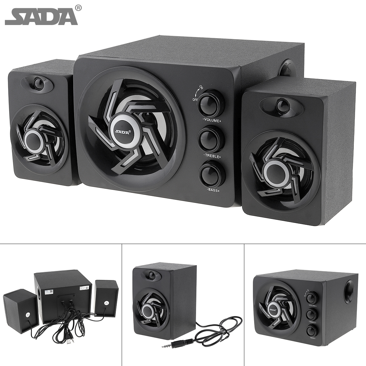 SADA 2018 Newest wooden 3D Stereo Subwoofer 100% Bass PC Speaker Portable Music DJ USB Computer Speakers For laptop Phone TV