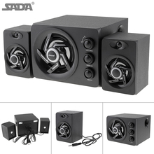 SADA D-209 Wooden 3D Stereo Subwoofer100% Bass PC Speaker Portable Music DJ USB Computer Speakers for Laptop Phone TV недорого