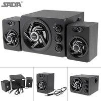 SADA D 209 Wooden 3D Stereo Subwoofer100% Bass PC Speaker Portable Music DJ USB Computer Speakers for Laptop Phone TV