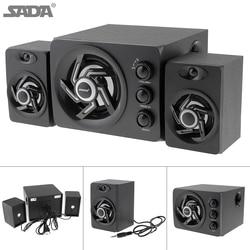 SADA D-209 Wooden 3D Stereo Subwoofer100% Bass PC Speaker Portable Music DJ USB Computer Speakers for Laptop Phone TV