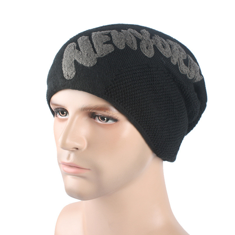 2017 new fashion men's autumn and winter cap acrylic Skullies plus cashmere knitted hat 7 colors optional Hedging Cap M183 skullies new arrival warm winter female knitted hat hedging interior plus fluff lines thick line twist cap cute hat 1866934