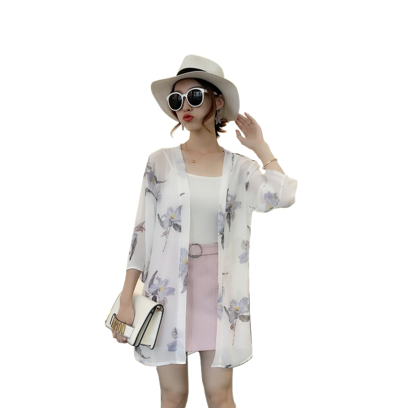 HTB15RO8rqQoBKNjSZJnq6yw9VXai - Blusas Mujer De Moda  New Women Summer Chiffon Blouse Pinted Casual Kimono Cardigan Long Blouses Sunscreen Tops Plus Size