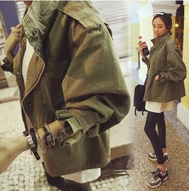 2017 Women Jacket Coat Womans Cotton Jersey Zipper Army Green Fashion Casual Overcoat Military Parka Jacket Coat