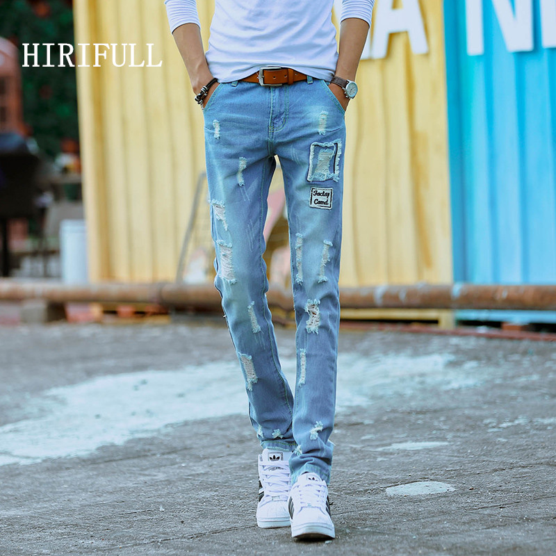 Fashion Men's Hole Ripped Personality Jeans Slim Straight Casual Denim Trousers High Quality Scratched Street Pants Plus Size personality patchwork jeans men ripped jeans fashion brand scratched biker jeans hole denim straight slim fit casual pants mb541