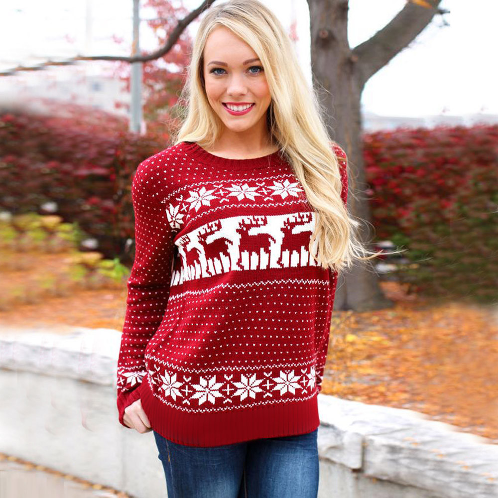 fd3e71ede23f7 Women Lady Jumper Sweater Pullover Tops Coat Christmas Snowflake Winter Womens  Ladies Warm Brief Sweaters Clothing