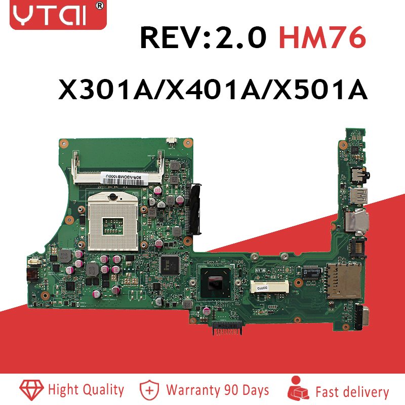 REV:2.0 HM76 PGA989 X301A X401A X501A Motherboard  For ASUS X301A X401A X501A Laptop DDR3 100% Test Free Shipping