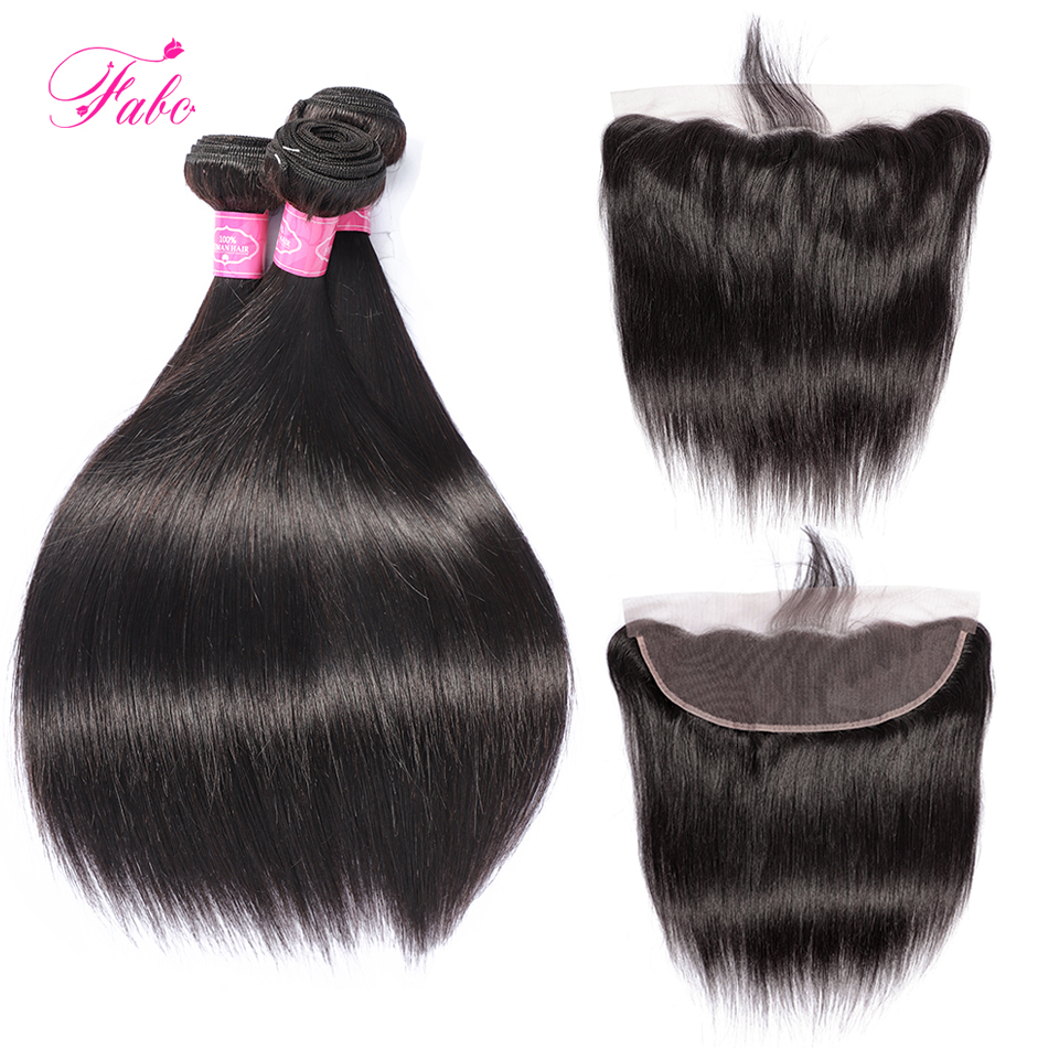FABC Hair Straight Hair Bundles With Frontal Non Remy Human Hair Weave Bundles With Closure Brazilian