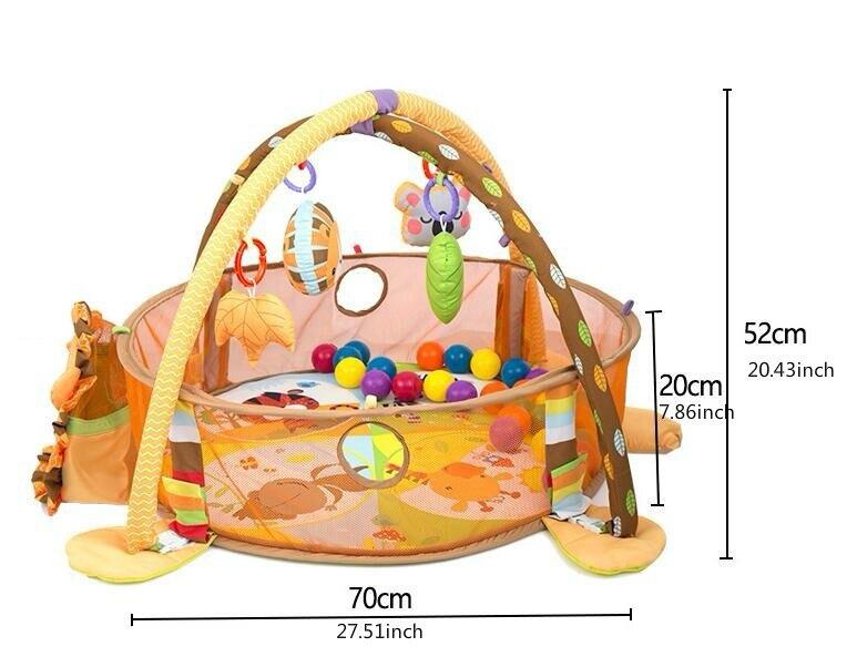 3 en 1 bébé tapis de jeu rond tortue Lion ramper couverture infantile tapis de jeu tapis de jeu enfants tapis d'activité Gym pliant Tapete Infantil - 4