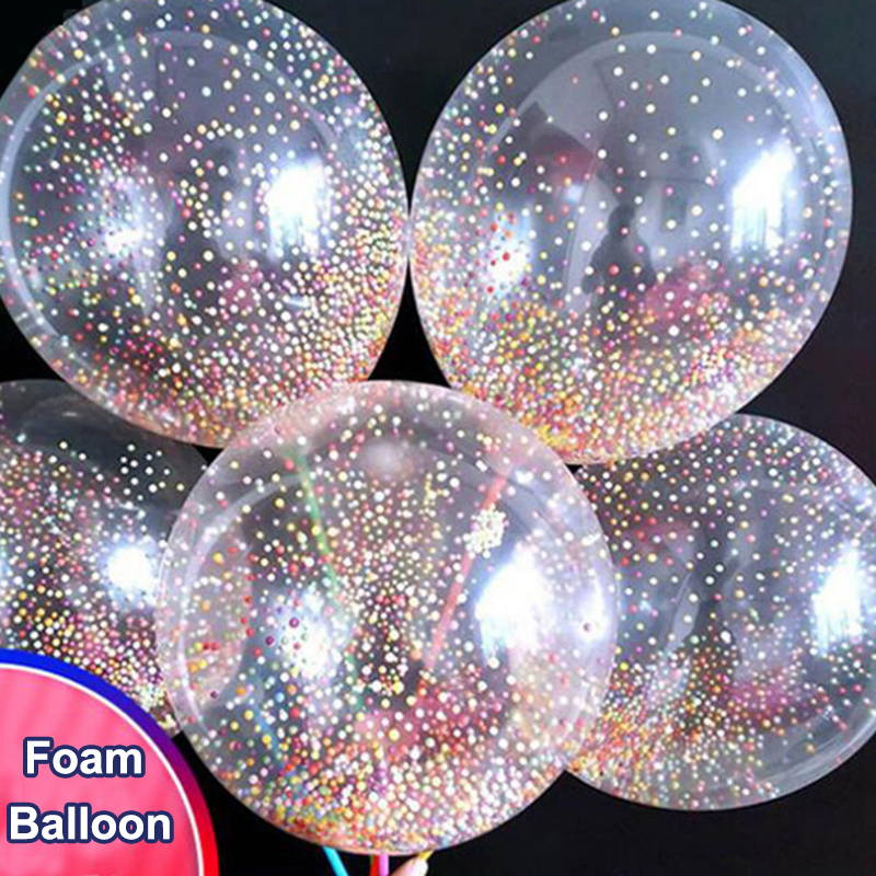 1Pcs 12inch Colorful Foam Dot Magic Latex Balloon Romantic Wedding Party Decoration Transparent With Pole Bubble Ballon Kids Toy