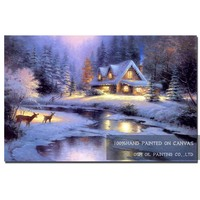 Free Shipping Artist Pure Hand painted Beautiful Winter Scenery Oil Painting on Canvas Quiet Christmas Night Oil Painting