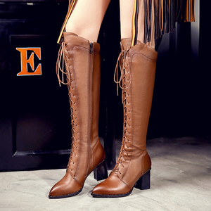 Image 5 - Gdgydh Spring Women Winter Knee High Boots Lacing Black Female Genuine Leather Boots Ladies Square High Heels Rubber Sole Shoes