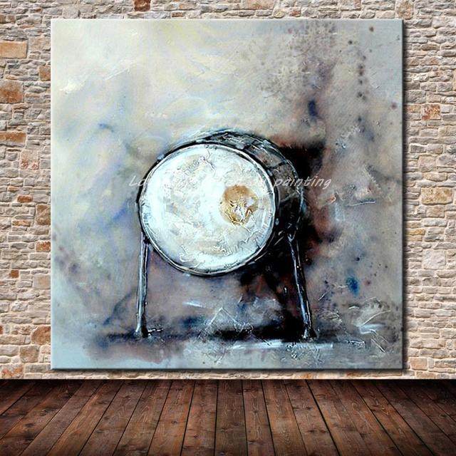Jazz Tambour Peint à La Main Moderne Abstrait Toile Peinture à L