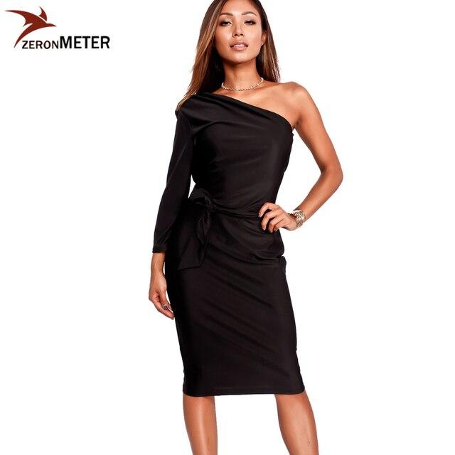 2017 new fashion one sleeve one shoulder bodydon dress little black slim midi christmas party dress