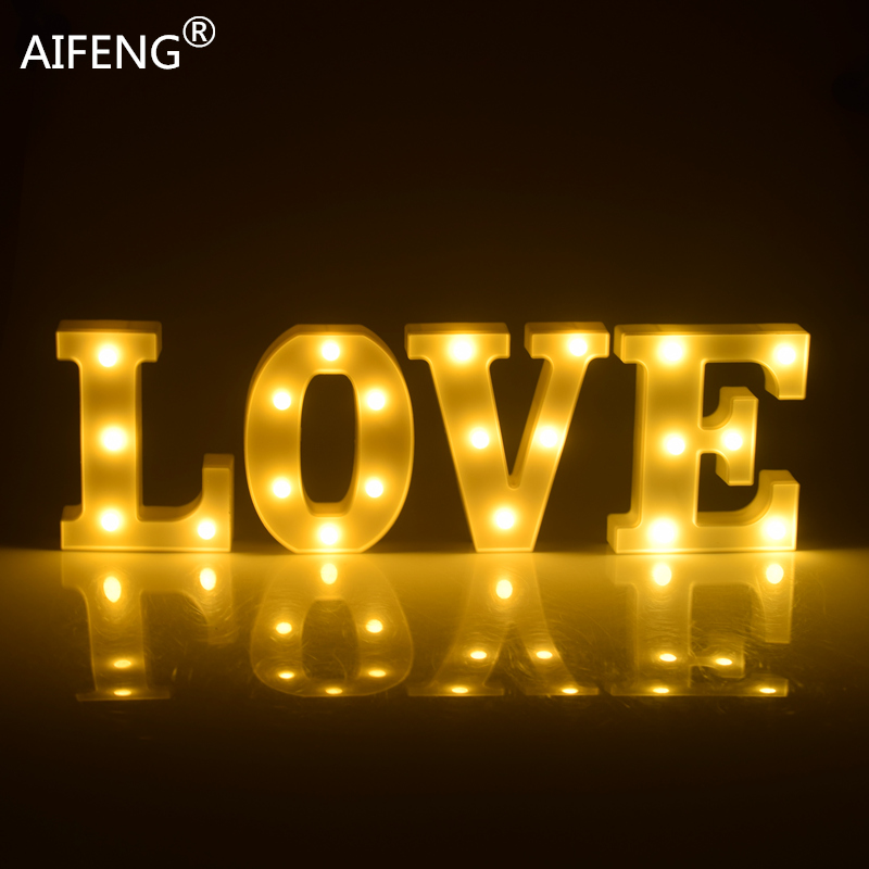 AIFENG  Sign 26 Letters Shape For Decorate Room Light Home Party  Decoration Party Wedding Birthday Decor  LED Letter Light