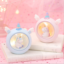 LED Night Light Cartoon Unicorn Moon Resin Baby Nursery Lamps Bedroom Decorative Lights Night Lamps Baby Children Birthday Gift children toy pendant lights kids room to absorb dome light lamps and lanterns cartoon children bedroom light plane led lamps za