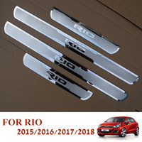 Car Stainless Steel Door Sill Scuff Plates For New KIA RIO 2015 2018 EU RIO