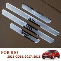 Car Stainless Steel Door Sill Scuff Plates For New KIA RIO 2015 2018 EU RIO