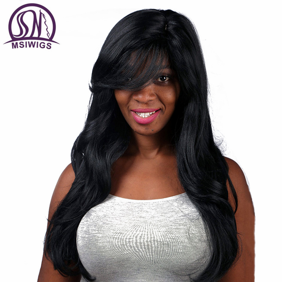 MSIWIGS Synthetic Hair Long Wavy Black Parykar med Bangs American - Syntetiskt hår - Foto 5