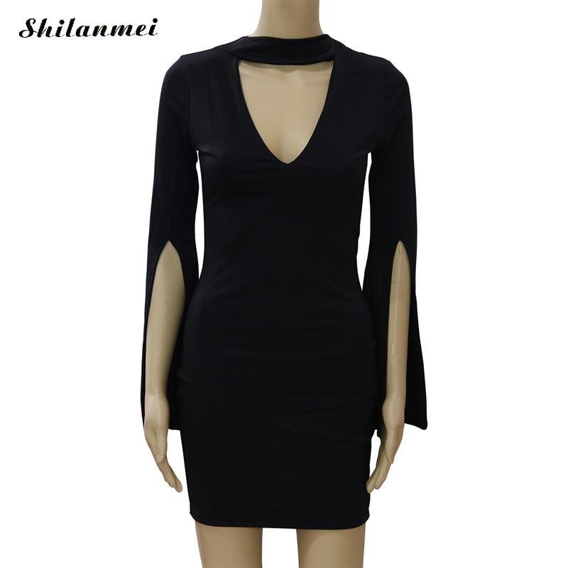 Sexy Deep V Front Slit Party Dress Vestido Elegant Fashion Chorker Slim Bodycon Work Office Dress Black Women Package Hip Dress