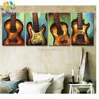 Ручная роспись абстрактные картины музыкальные инструменты стены фото гитара картина маслом на холсте музыка искусство украшения искусст...