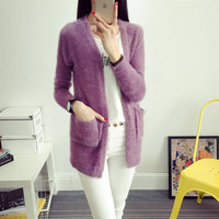Candy Colors Mohair Knitted Sweater Long Sleeve Autumn Winter Women Cardigans Fashion Top 2016 Femme Manche