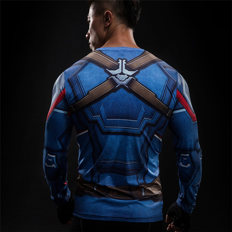 3D Printed T-shirts Captain America Civil War Tee Long Sleeve Compression Shirt Cosplay Costume Clothing Tops Male