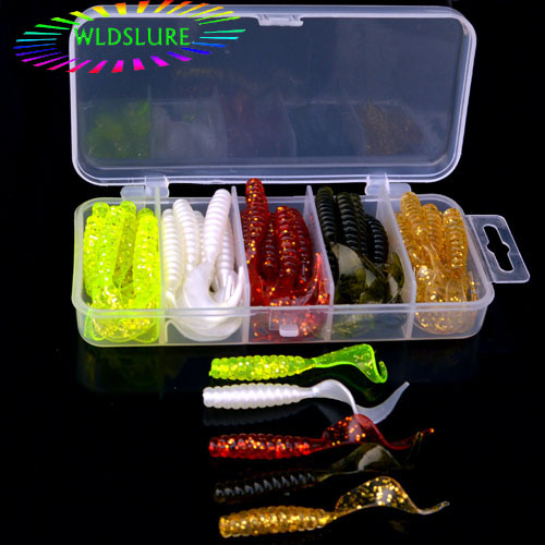 WLDSLURE 50pcs/box 5cm soft silicone fishing bait worms with free tackle box wobbler jigging lures shrimp jerkbait wldslure 1pc 54g minnow sea fishing crankbait bass hard bait tuna lures wobbler trolling lure treble hook
