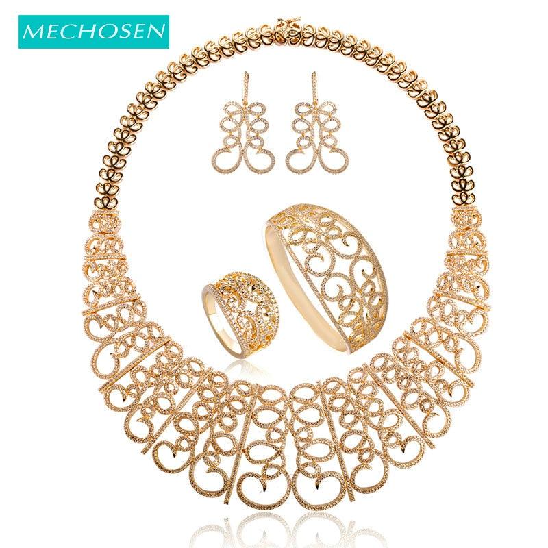 все цены на MECHOSEN Luxury Bridal Wedding Jewelry Sets For Women Necklace Earrings Bracelets Rings Gold-color Zirconia Copper Bijouterias