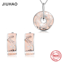 Jewelry Set Like Luscious Pink Floral Designs Women Authentic 925 Sterling Silver Charms Fashion Pendant Earrings