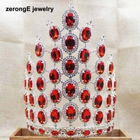 zerongE jewelry10.0inch Luxurious Miss Pageant Tiara large red miss world diadem Wedding Bridal Party hair jewelry tiara crown
