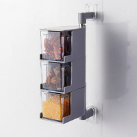 3 Layers Seasoning Box Rotary Transparent Kitchen Pepper Sugar Salt Jar Condiment Storage Cans Spice Rack Bottles