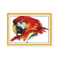 11CT 14CT Printed Animal Cross Stitch Pattern Kit Red Macaw Bird Fabric Cloth Handmade Diy Embroidery