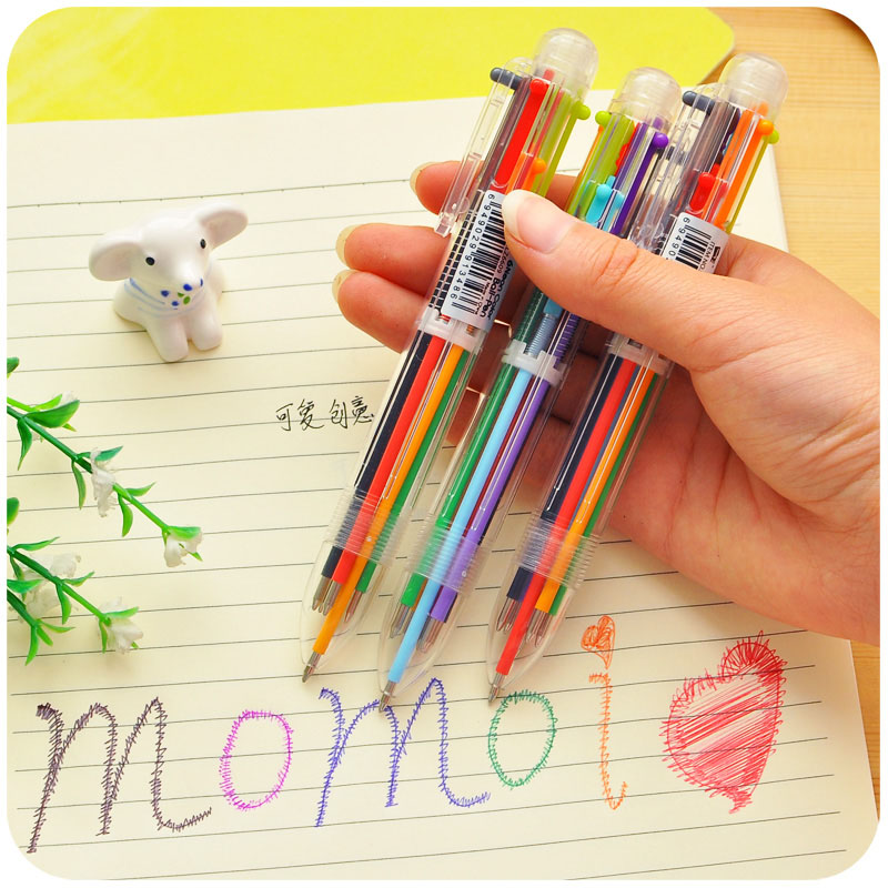 цены Cute Creative 6/8Colors Plastic Ballpoint Pen Lovely Kawaii Ball Pens For Kids Gift Korean Stationery Multifunction Pens