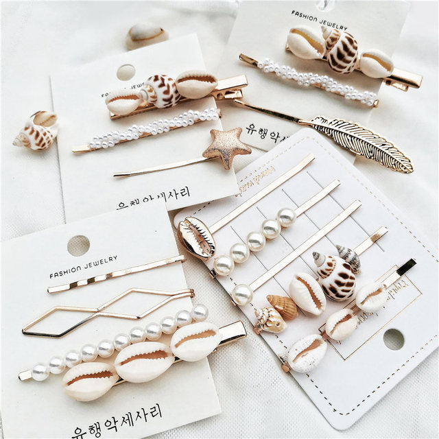 IF YOU Ins Fashion Pearl Shell Conch Women Metal Hair Clip Barrette Stick Hairpin Jewelry Styling Tools Boho Hair Accessories