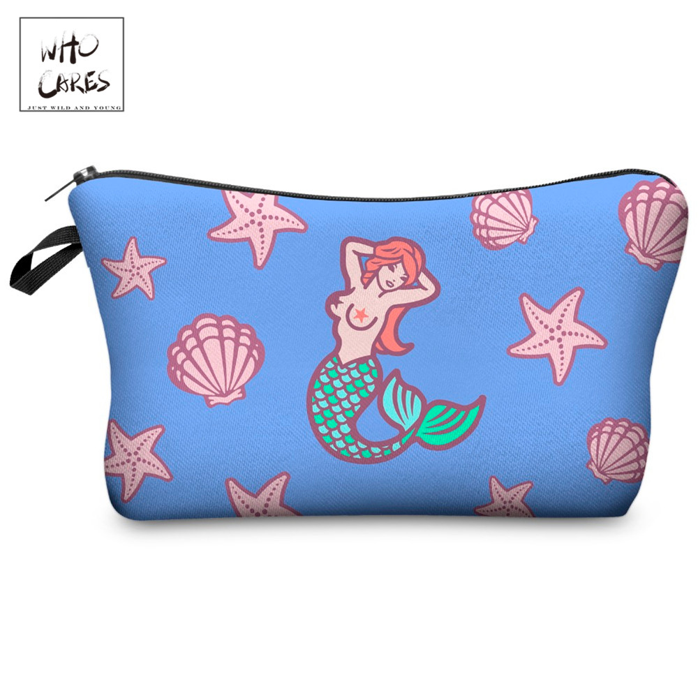 Who Cares Funny Mermaid Printing With Multicolor Pattern Makeup Bags Travel Ladies Pouch Women Cosmetic Bag